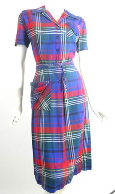 Sporty Plaid Cotton Dress w/ Button Tab Detail circa 1940s - Dorothea's Closet Vintage