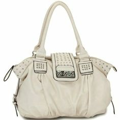 MG Collection Metal Studded Soft Leatherette Shopper Hobo Shoulder Bag / Available Colors: Beige, Black, Camel, and Grey