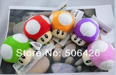 "nintendo New Super Mario Bros mushroom 3"" Plush Doll Soft Toy key chain 5pcs/set green red orange purple pink(China (Mainland))"