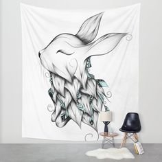 Buy Poetic Rabbit Wall Tapestry by LouJah.#art #loujah #society6 #tapestry #wall #homedecor #deco #boho #bohochic