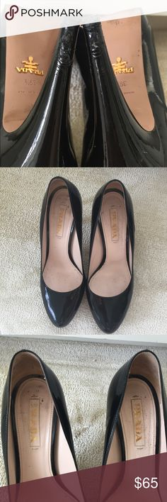 "Prada Platform Pumps Black Patent 4"" Heel Sz 9 1/2 Prada black patent leather platform pumps - round toes - 5/8 to 3/4"" platforms at front - black patent 4"" heels with black heel caps - beige leather footbeds with Prada logo - beige leather soles with gold metal Prada logo - excellent pre owned condition with lots of life left - there is some typical wear to soles and heels have some nicks near bottom and could use new heel caps - visit to the cobbler for a spruce up is taken into account…"