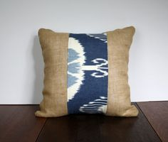 Blue Ikat & Burlap Pillow Cover by SazeracStitches on Etsy