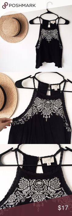 Black Embroidered Tank Super cute black tank top with white embroidery detailing! Size Medium but fits Small as well. Worn once, perfect condition! PacSun Tops Tank Tops