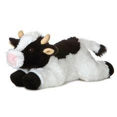 """12"""" Aurora Plush Black  White Cow May Bell Flopsie Farm Stuffed Animal Toy 31430 #Aurora"""