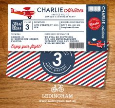 Airline Plane Ticket Birthday Invitation by LedinghamShop on Etsy                                                                                                                                                                                 More