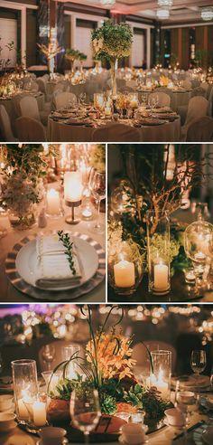 Rustic ballroom wedding with warm candle light // David and Cass's Rustic Ballroom Wedding at The Majestic Hotel Kuala Lumpur