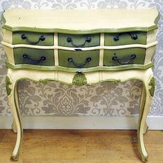 Antique Cream & Green French Style Painted Console Table
