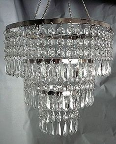 Amazon 3 Tier Beaded Hanging Chandelier With Clear Acrylic Drops
