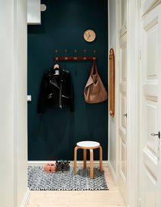 striking black wall on entry Door Entryway, Entryway Bench, Black Walls, Porch Decorating, Rustic, Living Room, House, Furniture, Hallways