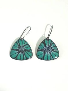 Torch fired copper enameled drop earrings shades of spruce