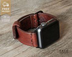 Details in short! [Watchband Color: *Hazel Nut] -------------------------------------------------------- This full grain leather watch band is made for Apple Watch Series 1 and 2, both 38mm and 42mm case. It also fits any type of watches which the lug width is 20mm or 24mm. Each pair is uniquely handmade! There are more colors and styles! Please check the 5th picture in this listing, or visit our shop front at trimleather.etsy.com. Basic Info…