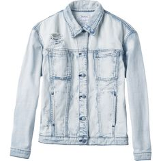 RVCA Women's  Road Worthy Denim Jacket ($90) ❤ liked on Polyvore featuring outerwear, jackets, coats & jackets, coats, button jacket, distressed jean jacket, denim jacket, distressed jacket and distressed denim jacket