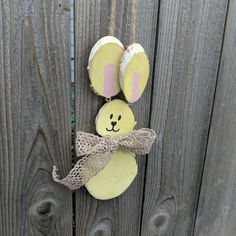 Get free shipping on this adorable bunny! He's handpainted and available in four colors! Check out my Etsy store to order yours!  #freeshipping #easterbunny #rabbit #bunny #handmade #loglife #logslices #logslicesbymargie #smallbusiness #shopsmall #etsy