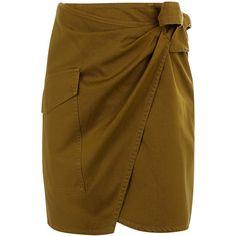 Isabel Marant Étoile Khaki Twill Olga Skirt (11.530 RUB) ❤ liked on Polyvore featuring skirts, asymmetrical skirt, khaki twill skirt, wrap front skirt, twill skirt and khaki knee length skirt