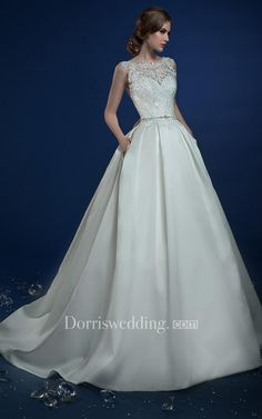 750d177ad22  Dorris Wedding -  Dorris Wedding A-Line Long Jewel-Neck Sleeveless Keyhole