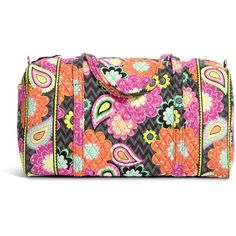 Vera Bradley Large Duffel Travel Bag in Ziggy Zinnia ($64) ❤ liked on Polyvore featuring bags, luggage and ziggy zinnia