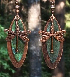 Your place to buy and sell all things handmade Wire Wrapped Earrings, Copper Earrings, Unique Earrings, Copper Jewelry, Beaded Jewelry, Dangle Earrings, Dragonfly Decor, Dragonfly Jewelry, Precious Metal Clay