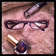 BCBG MAX AZRIA eyeglass with case. NIB Need a cute, new pair of eyeglasses for you or for a family member? BCBG eyeglasses. NIB and free cleaning cloth. Super girly. Definitely a statement piece. I was going to use it for myself but my prescription did not change so I kept it unused. Color: Slate (more like eggplant, blue with merlot on the corner) This pair has many gorgeous detail around the front and the sides. Eye catcher ☺️ BCBGMaxAzria Accessories Glasses