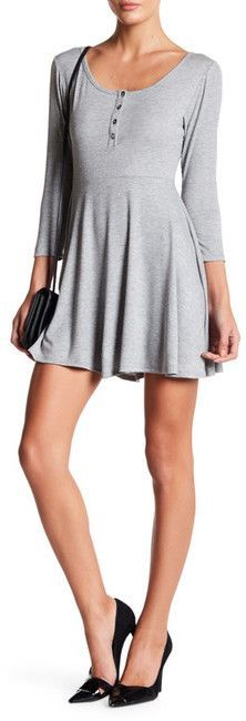 Loveappella Long Sleeve Front Button Dress