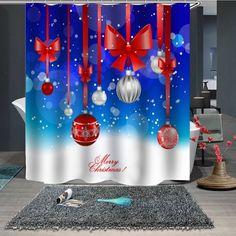Waterproof Breathable Mildew Christmas Print Pattern Bathroom Partition Shower Curtain - multicolor B Christmas Shower Curtains, Cheap Shower Curtains, Christmas Bathroom, Bathroom Partitions, Home Collections, Decoration, Christmas Print, Christmas Trees, Print Patterns