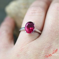 Ruby Solitaire Oval ring 14k Gold white-yellow-rose-Custom made your size-Wedding-Engagement-Anniversary-Layaway