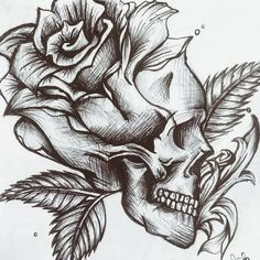 Badass Drawings, Dark Art Drawings, Art Drawings Sketches, Tattoo Sketches, Rose Drawings, Skull Tattoo Flowers, Skull Rose Tattoos, Body Art Tattoos, Skull And Rose Drawing
