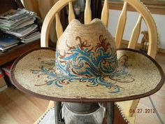 7 1/4 RESISTOL WOMENS STRAW COWBOY HAT HAND PAINTED CHEY COLLECTION WESTERN ART