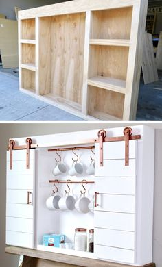 DIY Barn Door Coffee Bar Center Coffee Bar Center with sliding barn doors for the home kitchen with copper hardware Diy Sliding Barn Door, Diy Barn Door, Barn Doors, Sliding Doors, Porte Diy, Diy Regal, Room Doors, Home Organization, Home Projects