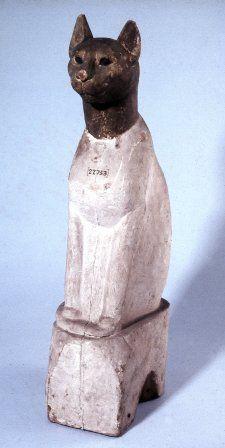 Wooden Cat Mummy Case  Green head, white body  Graeco Roman  The British Museum