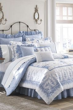 Laura Ashley Sophia Comforter Set - Discover home design ideas, furniture, browse photos and plan projects at HG Design Ideas - connecting homeowners with the latest trends in home design & remodeling White Comforter Bedroom, Elegant Comforter Sets, Blue Comforter Sets, Best Bedding Sets, Luxury Bedding Sets, Twin Comforter, Kids Bedroom Sets, Blue Rooms, Beautiful Bedrooms
