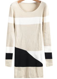 Apricot Long Sleeve Vertical Stripe Sweater