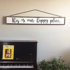 This Is Our Happy Place Sign Farmhouse Sign Farmhouse, rustic sign, diy sign, home decor, diy home decor, diy decor, modern, rustic, vaulted ceiling, eall art, brick walls, indoor, outdoor, farmhouse, kitchen, living room, mantle, shelf, letter art, vases, diy decor, dining room, family room, tsblr, coastal, chairs, cushion, rug, bathroom, entry way #afflink