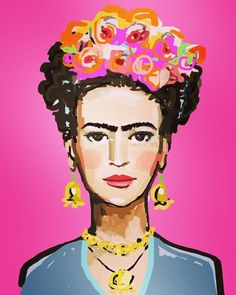 Frida Kahlo Print, roses, 8 x 10, 11x14 by DevinePaintings on Etsy
