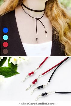 Thin choker necklace for women | Long leather lariat | Handmade jewelry gift for woman #handmade #jewelry #gift