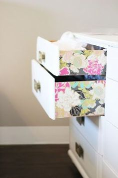 Add color or wallpaper to the sides of drawers... Easy DIY
