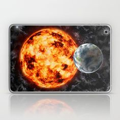 Earth-Sun-Space Laptop & iPad Skin by Tbhangal | Society6  Also available as; framed art prints, canvas prints, printed on metal, t-shirts, long sleeve tops, hoods, throw pillow cushions, mugs, travel mugs, duvet covers, laptop sleeves, towels. iPhone, iPod and Samsung phone cases and skins.