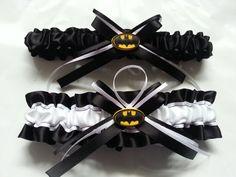 Batman Themed Wedding Garter SET black and by AussieWeddingGarters, $44.00