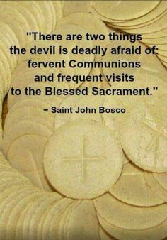 "John Bosco: ""There are two things the devil is deadly afraid of, fervent Communions and frequent visits to the Blessed Sacrament. Catholic Religion, Catholic Quotes, Catholic Prayers, Catholic Saints, Religious Quotes, Roman Catholic, Adoration Catholic, Catholic Catechism, Jesus Christ"