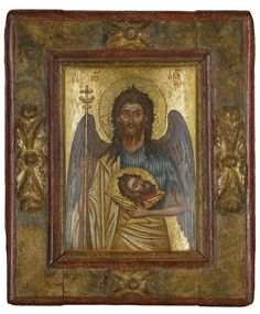 ST JOHN THE FORERUNNER, GREECE, 17TH CENTURY; aka St John the Baptist, holding his decapitated head.