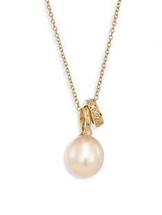 Mizuki - Diamond, 11MM White Freshwater Pearl & 14K Yellow Gold Pendant Necklace