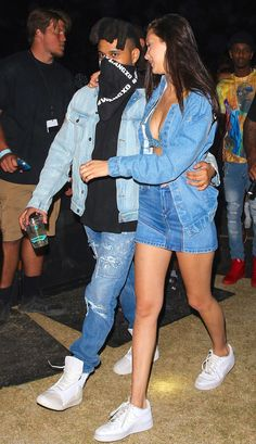Bella Hadid and The Weeknd Twin in Denim at Coachella from InStyle.com