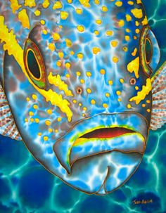 Title: Yellowtail Silk art of Jean-Baptiste Original art created on Silk Painting, Artist Painting, Painting & Drawing, Colorful Fish, Tropical Fish, Silk Art, Wow Art, Ocean Art, Acrylic Art