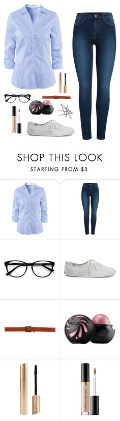 """Kara Danvers inspired!!"" by merilove ❤ liked on Polyvore featuring H&M, Pieces, EyeBuyDirect.com, Keds, Express, Too Faced Cosmetics and supergirl"