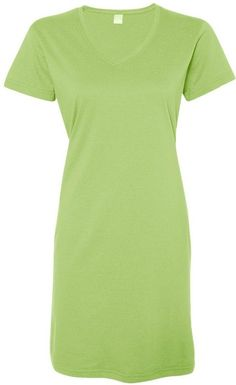 Louise. Lat Womens Fine Jersey Crossover V-Neck Coverup Dress, Key Lime