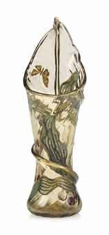 AN EMILE GALLE (1846-1904) ENAMELLED AND APPLIED GLASS 'LILY' VASE CIRCA 1900