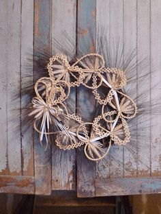 WHEAT WEAVING WREATH of Hearts. Hand Woven Straw with Black Bearded Wheat and Bow, Made in Pennsylvania...