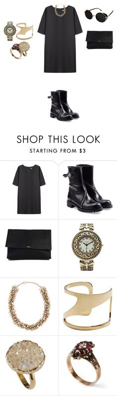 """""""Untitled #484"""" by elenekhurtsilava ❤ liked on Polyvore featuring Non, Alexander McQueen, HUGO, Collezio, Valentino, Vince Camuto and Topshop"""