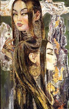artwork of 2002 by Saira Keltaeva: born on 16 May 1961 in Uzbekistan. She currently lives and works in Tashkent. First Night, Asian Art, Business Card Design, Art School, Art Blog, Art Inspo, Art Boards, Surrealism, Fantasy Art