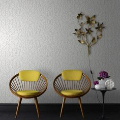 Heart and Tulip Wallpaper in Birch by Marcel Wanders for Graham & Brown