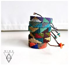 Triangle friendship bracelet geometric macrame multicoloured
